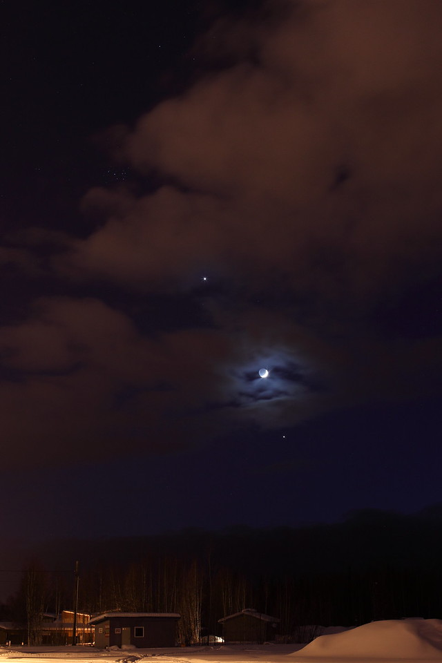 Alignment of Jupiter, Venus and the Crescent Moon