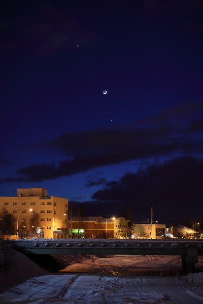 Alignment of Jupiter, Venus and the crescent Moon - captured from Fairbanks, Alaska on March 25, 2012