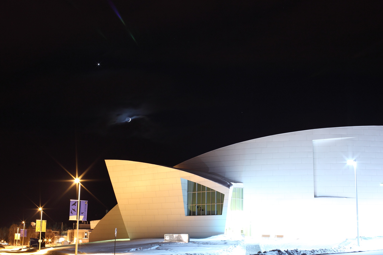 Delicate Crescent Moon over Museum of the North III