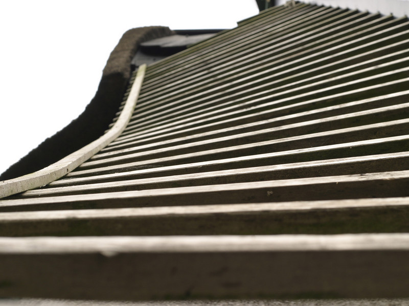One of the blades of the mill, looking up