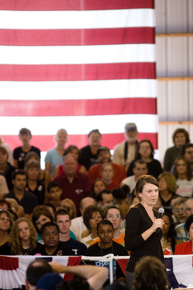 Democratic presidential nominee, Senator Barack Obama (D-IL), speaks at a town hall meeting in Terre Haute, Indiana September 6, 2008. <br /> <br /> Photo courtesy Alex Turco/The DePauw