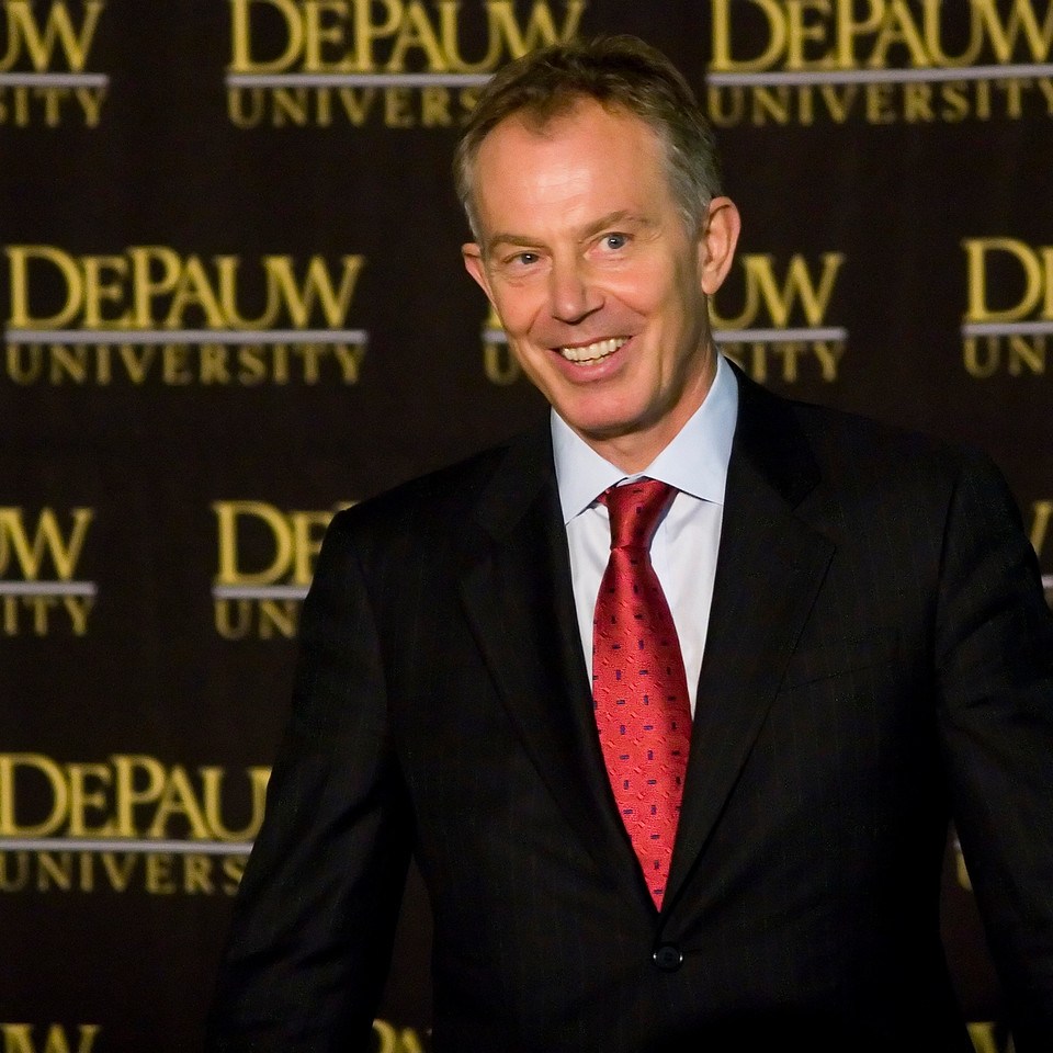 Former British Prime Minister Tony Blair spoke at DePauw University Monday, March 3, 2008.  Blair commented on the need for greater global leadership in the face of a changing world.  PHOTO BY ALEX TURCO