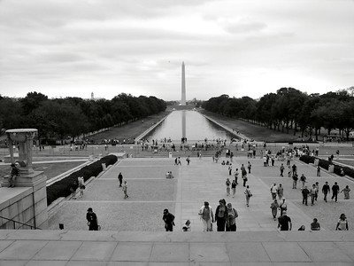 The Washinton Monument as seen from the steps of the Lincoln Memorial.