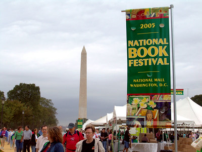 The National Book Festival takes place at the same time as anti-war protesters march on capitol hill