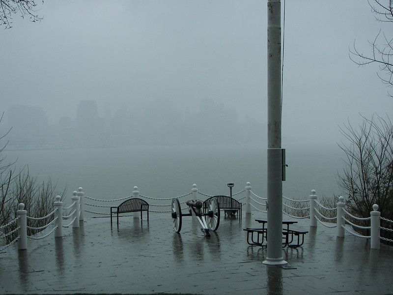 The Nor'easter starts over the Hudson as viewed from Castle Point in Hoboken.