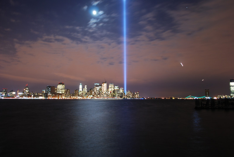 September 11, 2008 Daily Photo. Day 190.<br /> <br /> World Trade Center Tribute Light from Pier A park, Hoboken, New Jersey.<br /> <br /> 57 people from Hoboken died at the World Trade Center. <br /> <br /> 7 years ago I got off the PATH train at the WTC after the first plane had already hit. It was all very unreal. It still is. But, this morning I got off the PATH train at the WTC as I do every work day like thousands of others who rode it that day also.