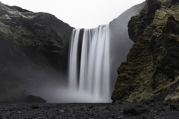 Serene Long Exposure of Skogafoss Waterfall in South Iceland