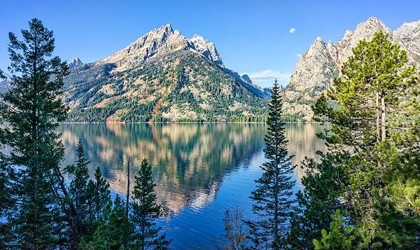 Jenny Lake Morning Reflection and Moon