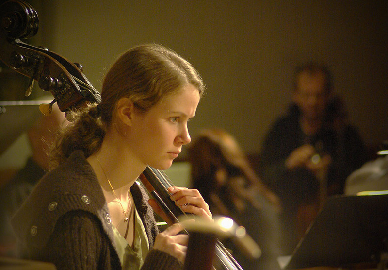Bass player rehearsing in Bodø Cathedral for Bach's mass in H minor, nov 2007