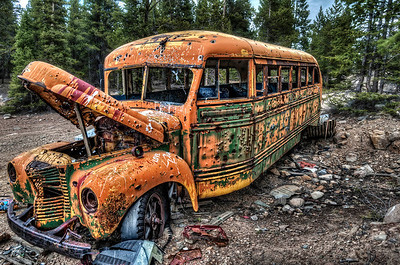The mins of Leadville, Colorado are all abandoned (save for one that is now operating again) and the entire area is a trove of discoveries, both of mining buildings and equipment .... and an old bus left abandoned years ago.