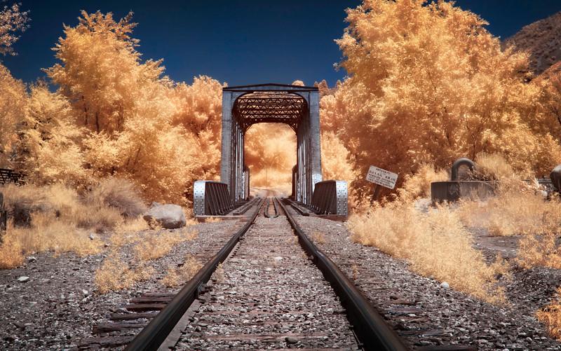 The train trestle in Durango.  Property of the Durango & Silverton Narrow Gauge Railroad.  Captured in infrared.