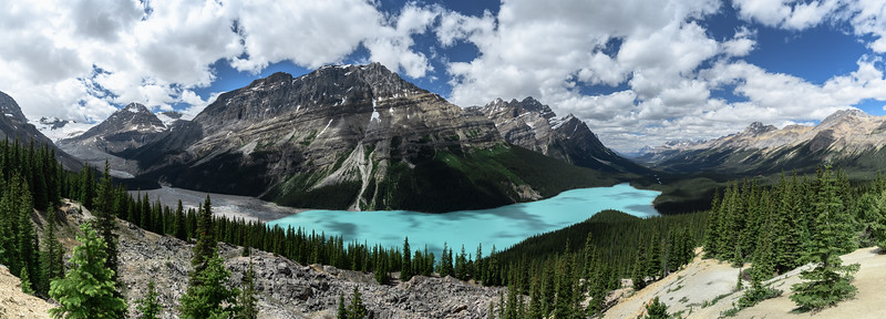 Rocky mountains and Peyto Lake in Banff National Park