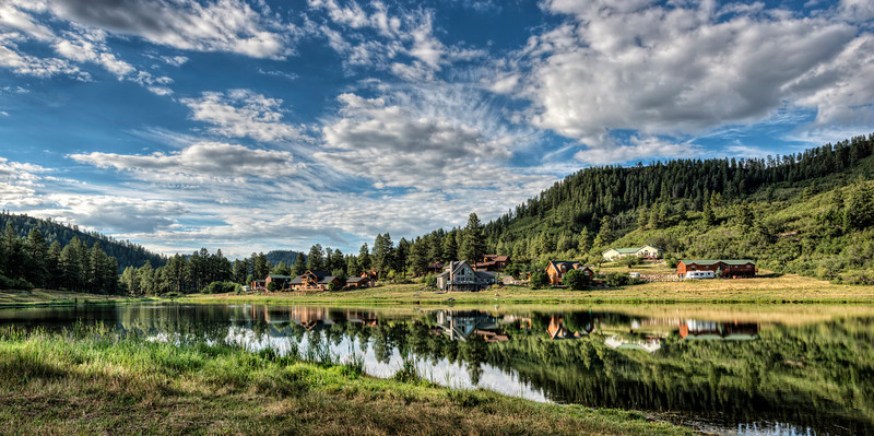 A summer morning on Lake Simpatico in Forest Lakes, Colorado.