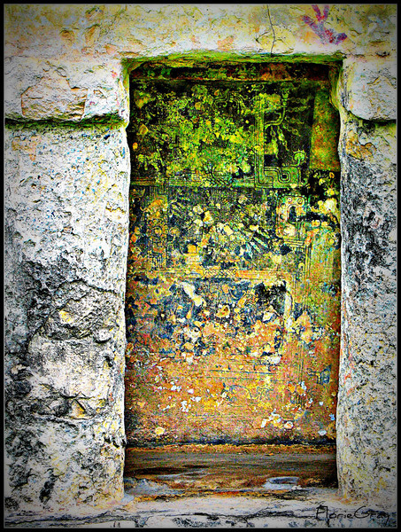 Ancient Art - Tulum, Mexico  Note the ancient handprints, perfectly preserved paintings  <b>Copyright © Florence T. Gray. This image is protected under International Copyright laws and may not be downloaded, reproduced, copied, transmitted or manipulated without written permission.</b>