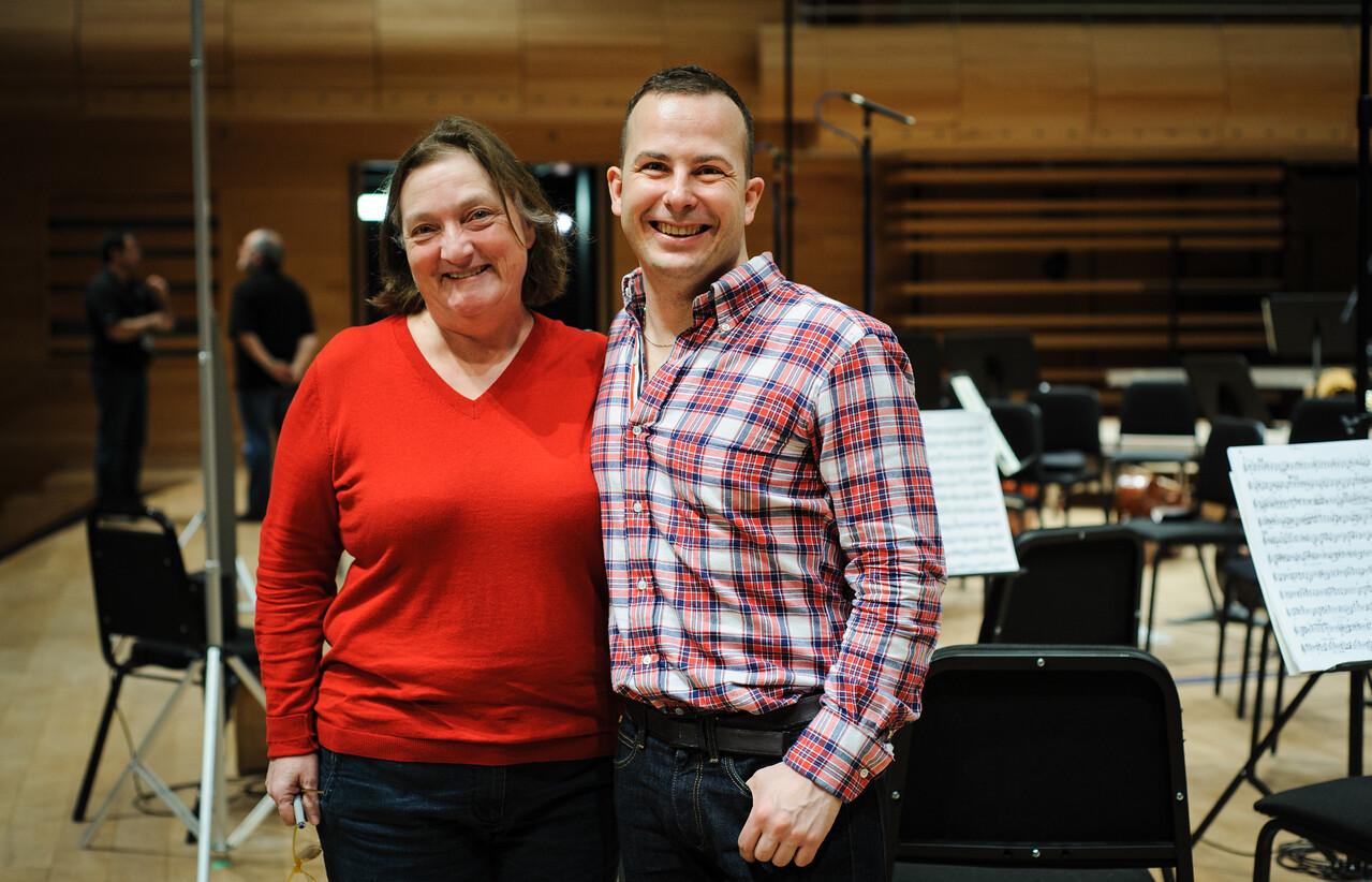 Johanne Goyette, d'ATMA Classique et Yannick Nézet-Séguin lors de la session Bruckner 6 à la Maison Symphonique de Montréal