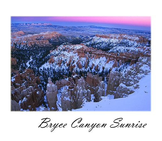 A VERY cold morning in Bryce Canyon for this photograph.  The spectacular purplish ridge was quite a surprise as I had hoped for the early glow of light hitting the hoodoos.  This photograph, however, is one of my favorite from my three trips to Bryce Canyon.