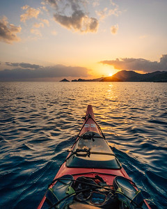 Paddling to Sunset - Crete, Greece