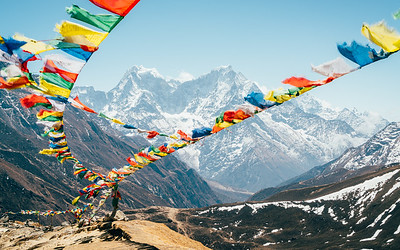 Flags in the Wind - Machermo, Nepal