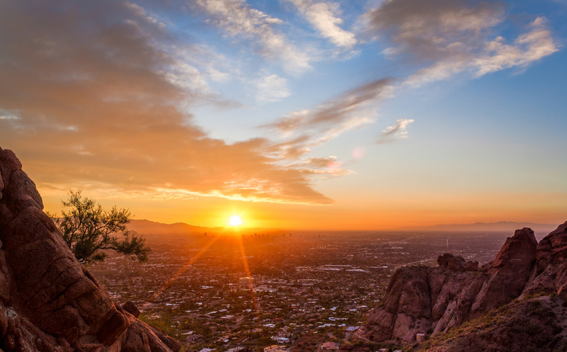 Sunset Burning Over Phoenix - Camelback Mountain, Arizona