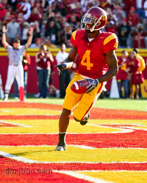 Joe McKnight of the USC Trojans celebrates a touchdown during the NCAA football game versus Stanford on November 14, 2009.
