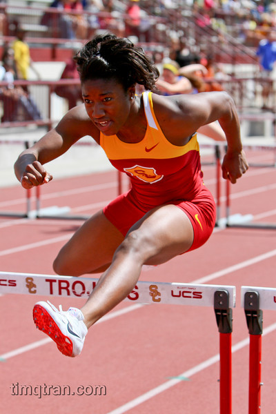 Shalina Clarke (Senior, Business Administration Major) won the Women's 100m hurdles with a time of 13.69 during the 2010 Trojan Invitational Track Meet.