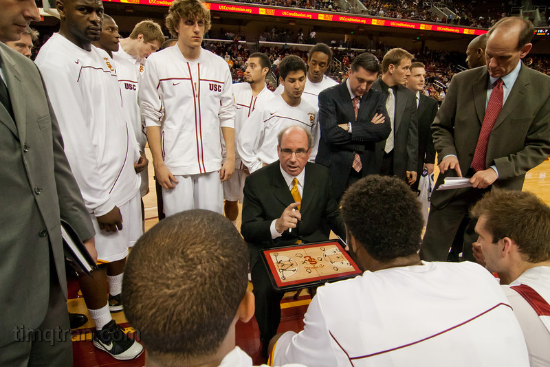 Coach Kevin O'Neill takes a timeout to explain the game plan during a NCAA men's basketball game versus Oregon State University.