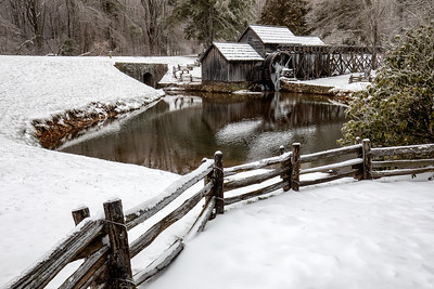 Mabry Mill in snow and ice