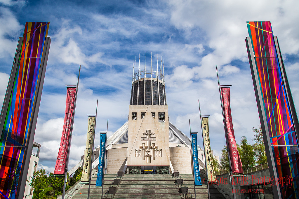 Colours in front of Liverpool Metropolitan Cathedral.