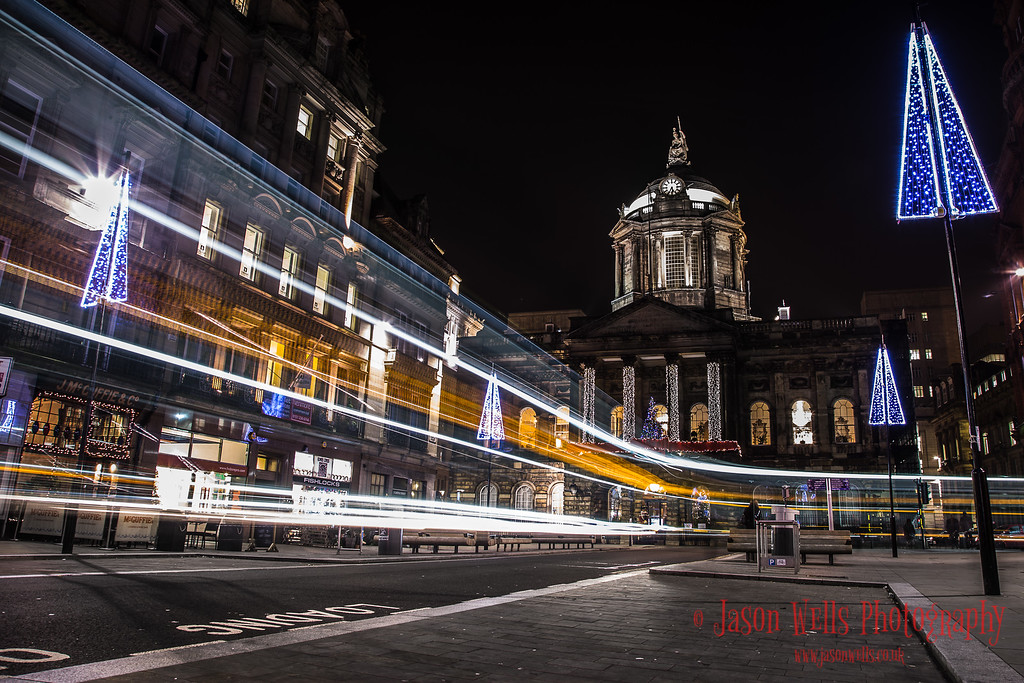 Traffic trails in front of Liverpool town hall.