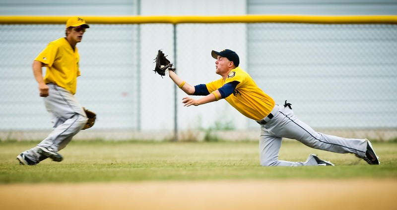 Kyle Mehus dives for a catch in the fifth inning of Finley-Sharon's Section 3 American Legion baseball quarterfinal game against Thompson Thursday.