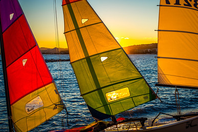 """""""COLORFUL SAILS"""" (serial No.: 20131120-6307) Sunset on the sails in Port of Cros de Cagnes, Côte d'Azur, France."""