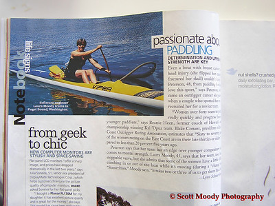 Article in Womens World showing Laura paddling. The next picture is from the same photo shoot.