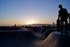 Sun sets at Venice Beach Skate Park. <br /> ref: b40336f8-4890-4f1d-8a7d-e52b280f7032