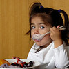 """2 year old Alexis enjoying her healthy, yummy breakfast in Newport for vacation..<br /> """"Breakfast"""""""