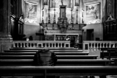 """HOPING FOR HELP"" (serial No.: 20131123-6317) Prayer hoping to be heard from above in a church, Old Nice, Côte d'Azur, France."