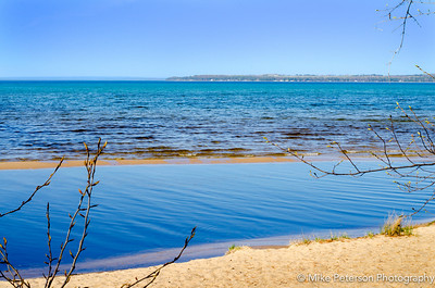 East Grand Traverse Bay in May before dusk.  I love the beautiful blues in the water.