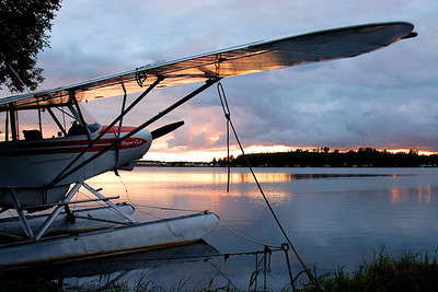 Piper Cub and Sunset -- Anchorage, Alaska.