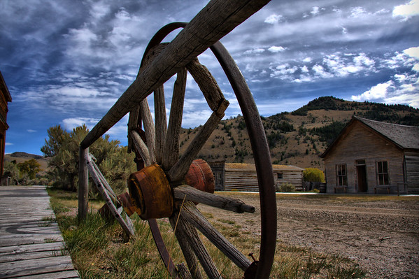 Looking down Bannack's main street.