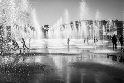 """KIDS AND THE FOUNTAINS"" (serial No.: 20131109-6196) Kids playing in the fountains on La Coulée Verte, Nice, Côte d'Azur, France"