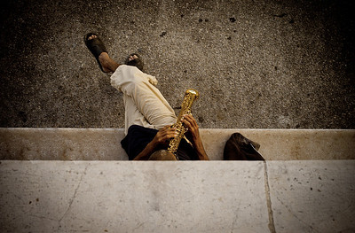 """""""THE JAZZ PLAYER"""" (Serial No.: 20110501-2025) Jazz player rehearsing in Old Port of Nice, Côte d'Azur, France"""