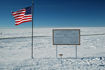 SOUTH POLE, ANTARCTICA; Right next to the ceremonial South Pole is the 'actual' or Geographic South Pole.