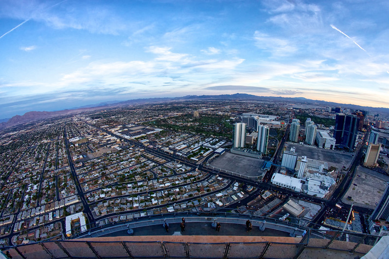 A north to south view of Las Vegas from the base of the Big Shot ride above the public observation deck on top of the Stratosphere Hotel