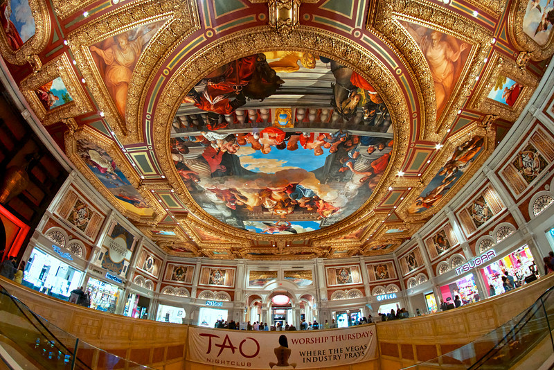 One of the many spectacular ceilings at the Venetian Hotel