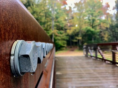 Rust and bolts on a drizzly hike
