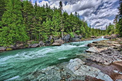 McDonald Creek, upstream of Lake McDonald in Glacier National Park.