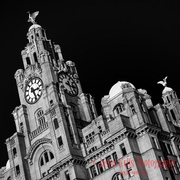 Royal Liver Building in monochrome.