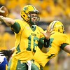 North Dakota State University quarterback Brock Jensen winds for a pass in the first quarter of the Bison's home playoff game against South Dakota State University.