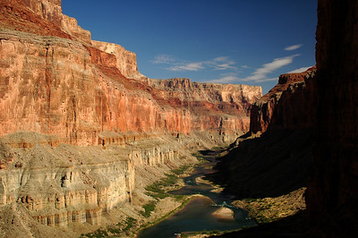 GRAND CANYON, AZ - After establishing Camp IV at Nankoweap (Mile 53), a small trail took us exploring up the side of the canyon to this view looking down river toward Kwagunt Rapid.