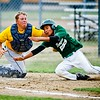 Hope-Finley catcher Taylor Foss tags out Thompson runner Malek Larimer as he attempts to score in Thursday's Section 3 American Legion baseball quarterfinals.