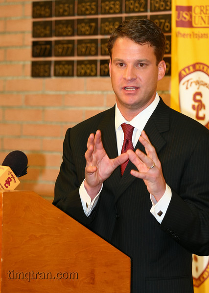 Lane Kiffin speaks during a press conference on January 13, 2010 announcing his acceptance of the Head Coach position for the USC football team.